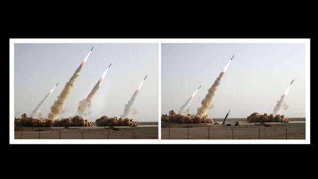 Iraanse militaire show in 2008. Toen één van de installaties niet werkte is de foto bewerkt en verspreid via nieuwsorganisaties.