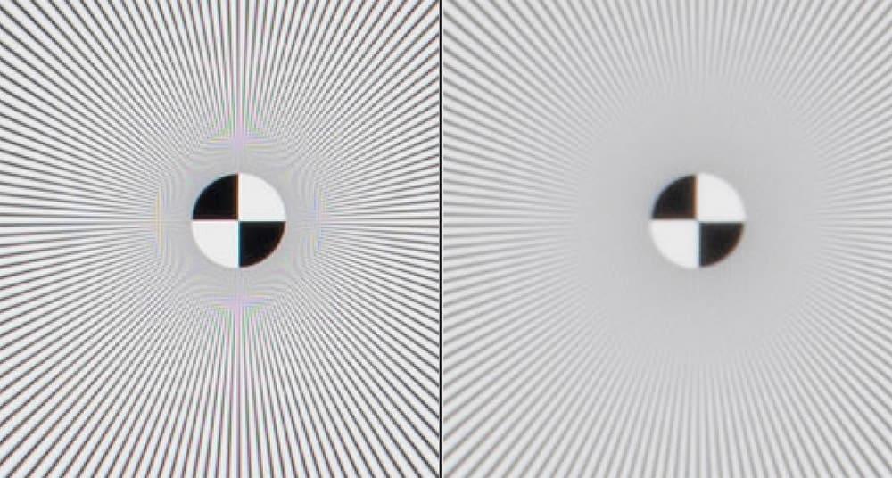 Links ƒ/5,6, rechts ƒ/22, de diffractie veroorzaakt een fors verlies aan scherpte.