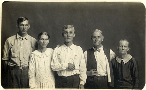 Joe and Fanny Carr, Mose Harmon, and Bill and Julia Harlan, Vintage gelatin silver print, ca. 1930, Mike Disfarmer. All prints courtesy of the Edwynn Houk Gallery or the private collection of Michael Mattis and Judith Hochberg