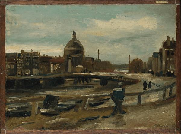 Schilderij Vincent van Gogh (Zundert 1853 – Auvers-sur-Oise 1890) 'Singel in Amsterdam' (1885)