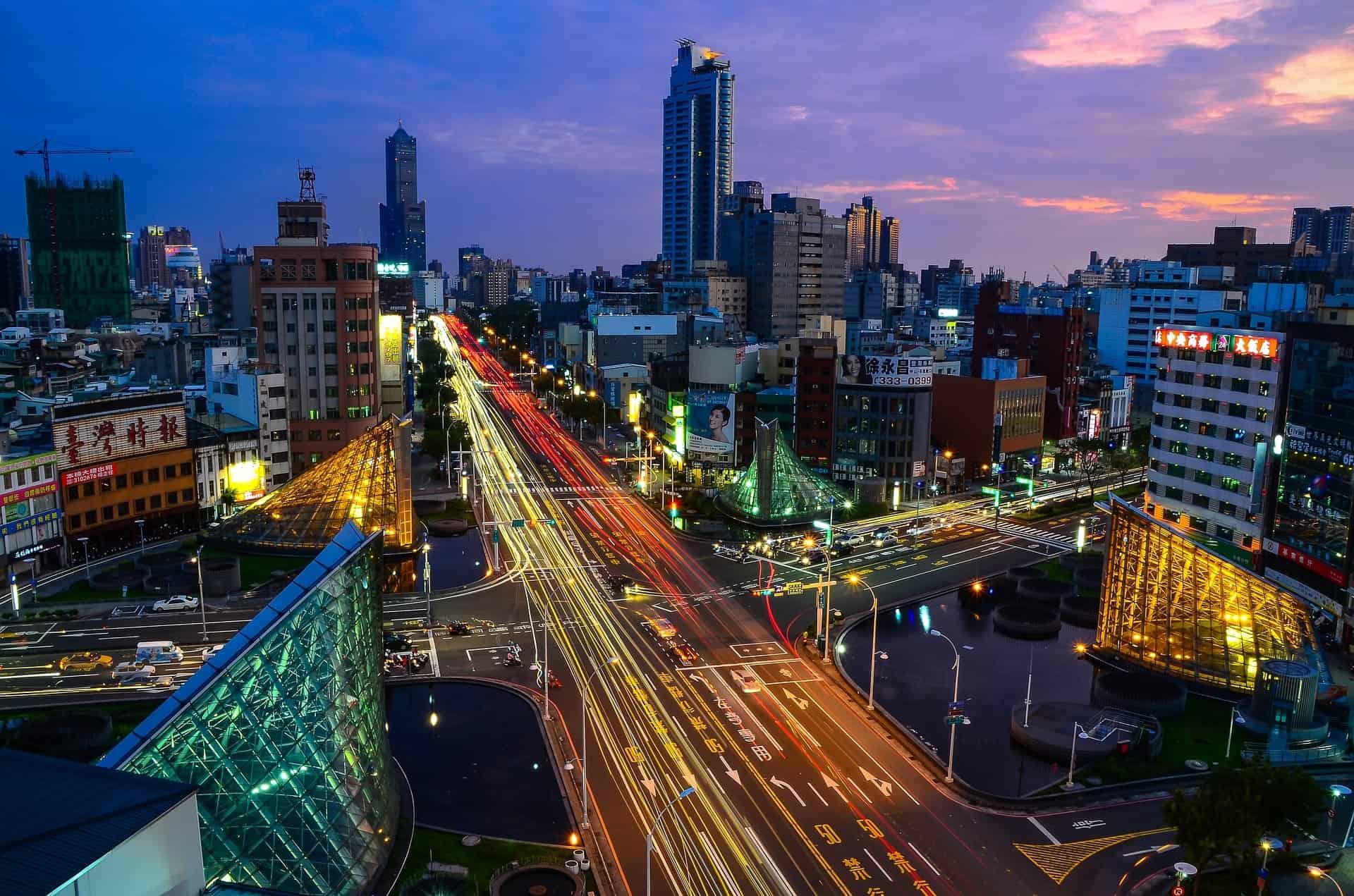 Lichtstrepen stad fotografie